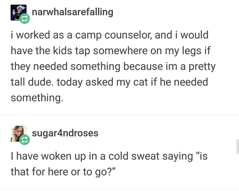 """Text - narwhalsarefalling i worked as a camp counselor, and i would have the kids tap somewhere on my legs if they needed something because im a pretty tall dude. today asked my cat if he needed something sugar4ndroses I have woken up in a cold sweat saying """"is that for here or to go?"""""""