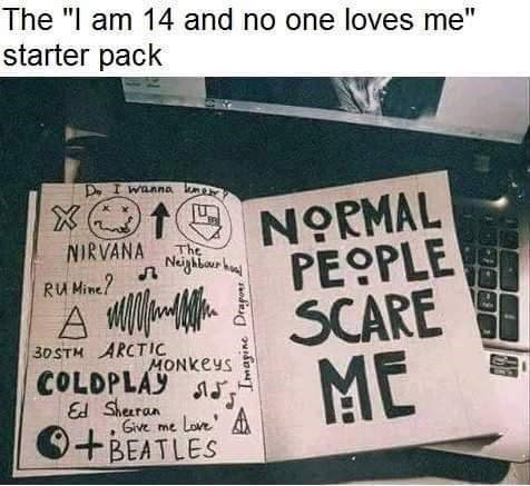 """The I'm-14-and-no-one-loves-me starter pack"" above a pic of a notebook that says ""Normal people scare me"""