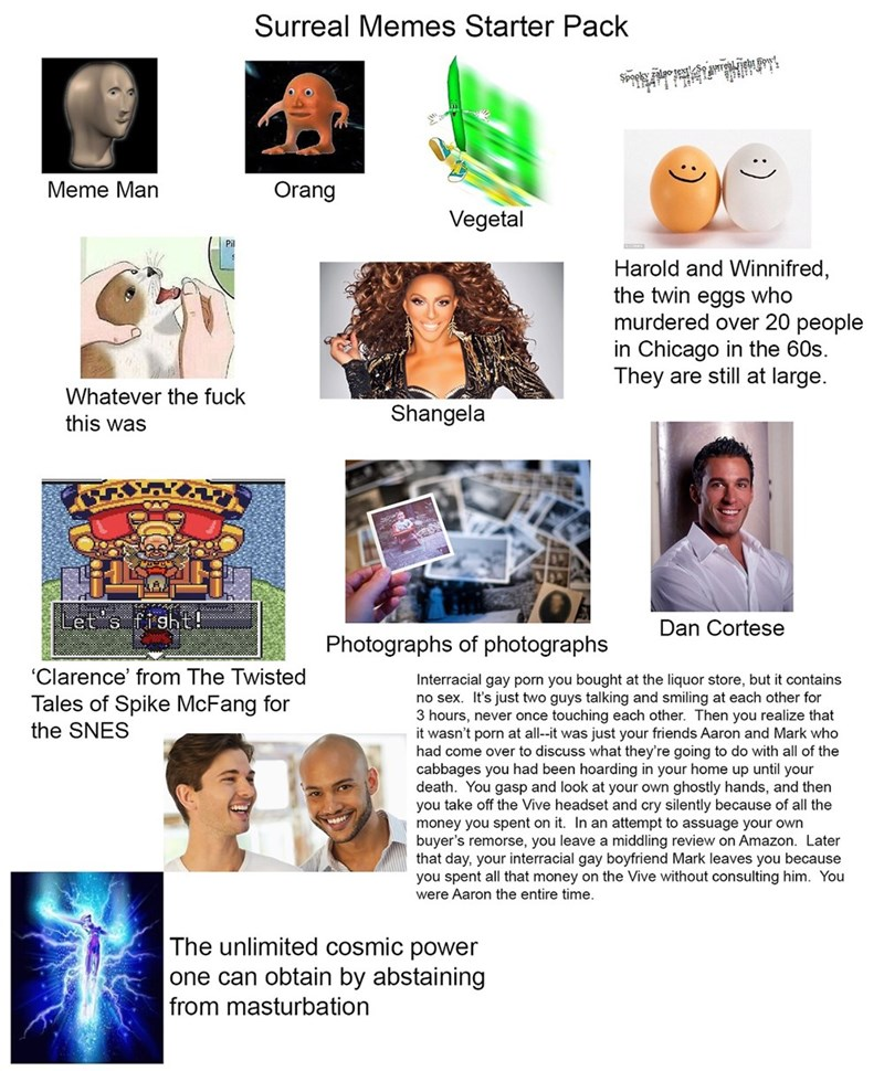 egg meme - Brochure - Surreal Memes Starter Pack Meme Man Orang Vegetal Harold and Winnifred, the twin eggs who murdered over 20 people in Chicago in the 60s