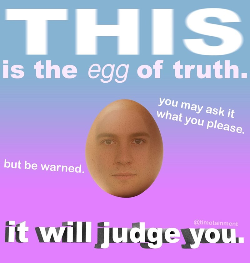 egg meme - Face - THIS is the egg of truth. you may ask it what you please. but be warned. @timotainment it will judge you.