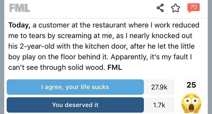 Text - FML 70 Today, a customer at the restaurant where I work reduced me to tears by screaming at me, as I nearly knocked out his 2-year-old with the kitchen door, after he let the little boy play on the floor behind it. Apparently, it's my fault I can't see through solid wood. FML 25 I agree, your life sucks 27.9k You deserved it 1.7k