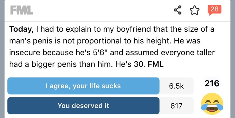 """Text - FML 28 Today, I had to explain to my boyfriend that the size of a man's penis is not proportional to his height. He was insecure because he's 5'6"""" and assumed everyone taller had a bigger penis than him. He's 30. FML 216 I agree, your life sucks 6.5k You deserved it 617"""