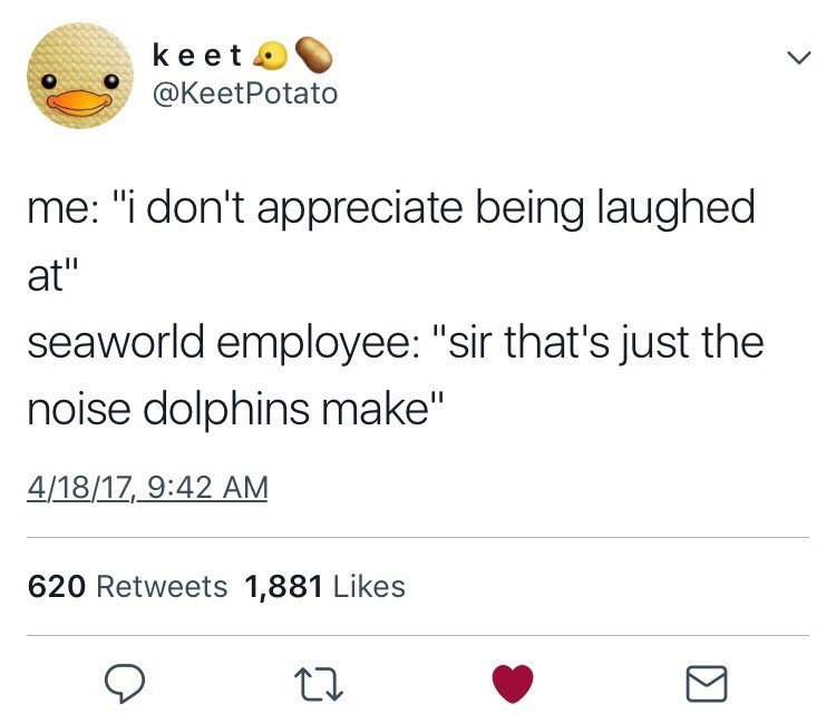 "Text - keet L @KeetPotato me: ""i don't appreciate being laughed at"" seaworld employee: ""sir that's just the noise dolphins make"" 4/18/17, 9:42 AM 620 Retweets 1,881 Likes"