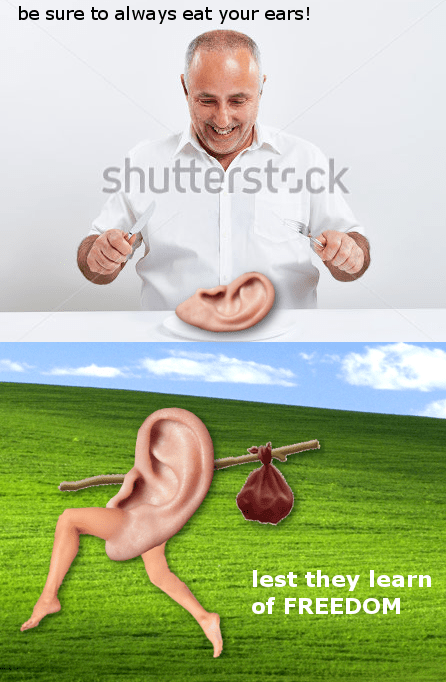 Surreal meme - Grass - be sure to always eat your ears! shutterstock lest they learn of FREEDOM