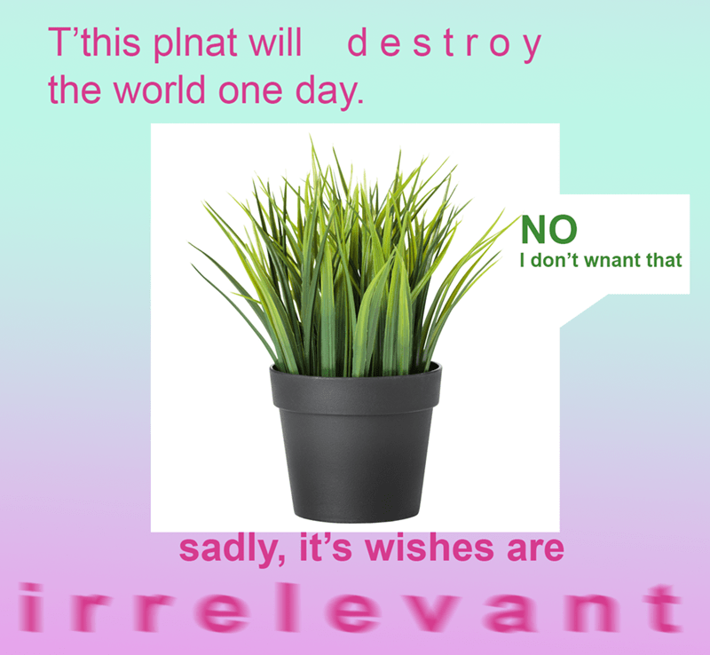Surreal meme - Flowerpot - T'this plnat will destroy the world one day. NO I don't wnant that sadly, it's wishes are irrelevant