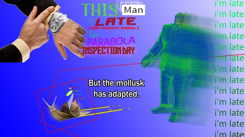 Surreal meme - Finger - i'm late THISM isLATE Man i'm late i'm late m late m late m late i'm late i'm late i'm late EVERY NAUDHTV IN0EED.) Tor PARABOLA INSPECTION DAY But the mollusk has adapted. Parabols Hyperbola i'm late i'm late i'm late i'm late
