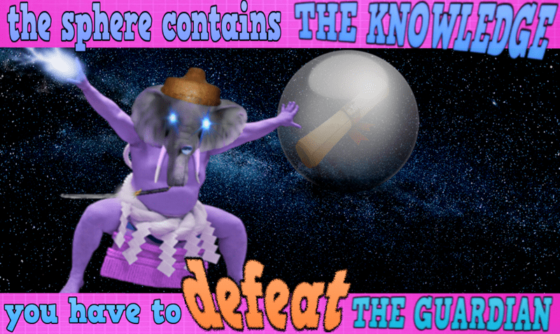 Surreal meme - Font - the sphere contains THE KNOWLEDGE defeats U THE GUARDIAN you have to