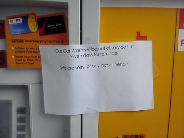Text - Winn Deic BEFORE inserting payment card sFollow screen pi initiate Fuel Rew Our Car Wash will be out of service for eleven days for remodel. Insert your Fuel R Card or Winn-Do Reword Card We are sory for any incontinence.