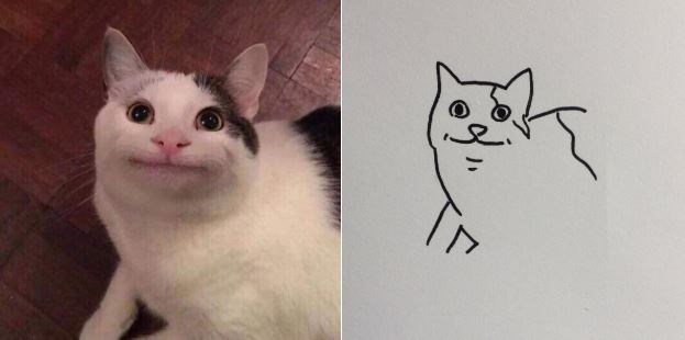 'Polite Cat' and a terrible drawing of Polite Cat next to it