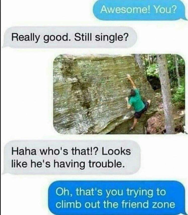 Text conversation where the guy asks the girl if she's single, and the girl responds with a picture of a guy climbing to symbolize that he's 'climbing out of the friendzone'