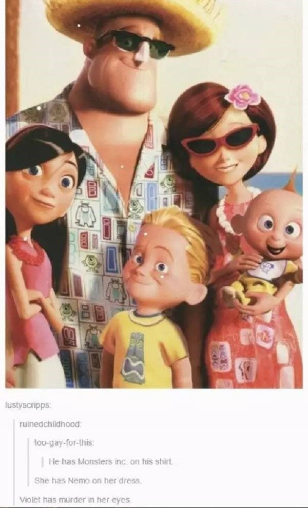 Toy - lustyscripps ruinedchildhood too-gay-for-this: He has Monsters inc on his shirt She has Nemo on her dress Violet has murder in her eyes