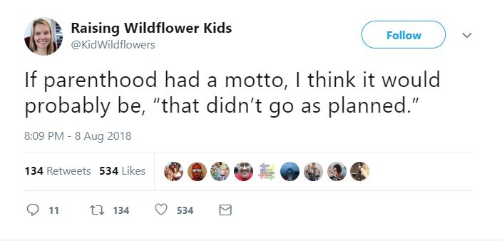 "Text - Raising Wildflower Kids @KidWildflowers Follow If parenthood had a motto, I think it would probably be, ""that didn't go as planned."" 8:09 PM - 8 Aug 2018 134 Retweets 534 Likes t 134 534"