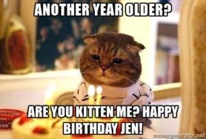 tabby cat wearing stripy white and blue shirt looking sadly at cake with candles in front of it happy birthday meme