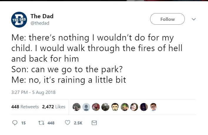 Text - The Dad Follow THE DAD @thedad Me: there's nothing I wouldn't do for my child. I would walk through the fires of hell and back for him Son: can we go to the park? Me: no, it's raining a little bit 3:27 PM - 5 Aug 2018 448 Retweets 2,472 Likes t 448 15 2.5K