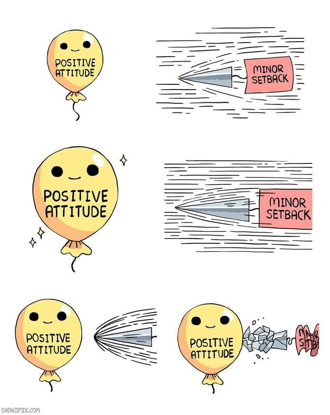 The balloon represents 'positive attitude' and the bullet represents a 'minor setback'