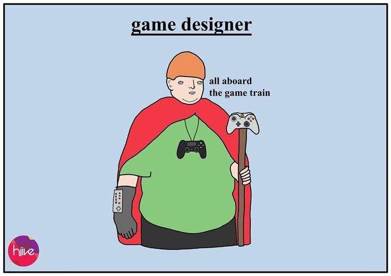 Cartoon - game designer all aboard the game train |hive
