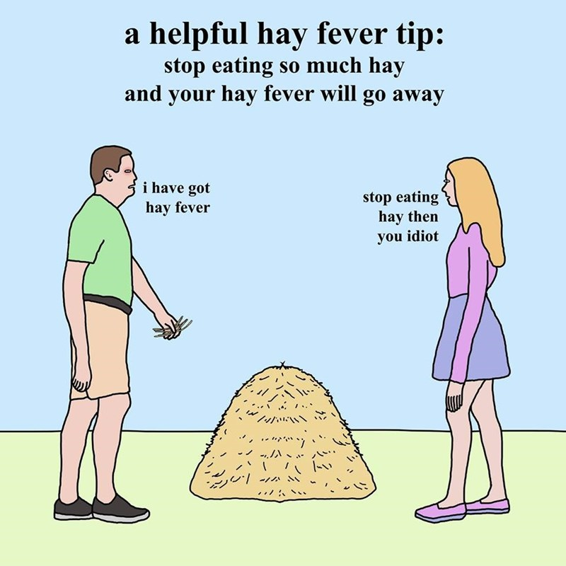 Cartoon - a helpful hay fever tip: stop eating so much hay and your hay fever will go away i have got stop eating hay then you idiot hay fever
