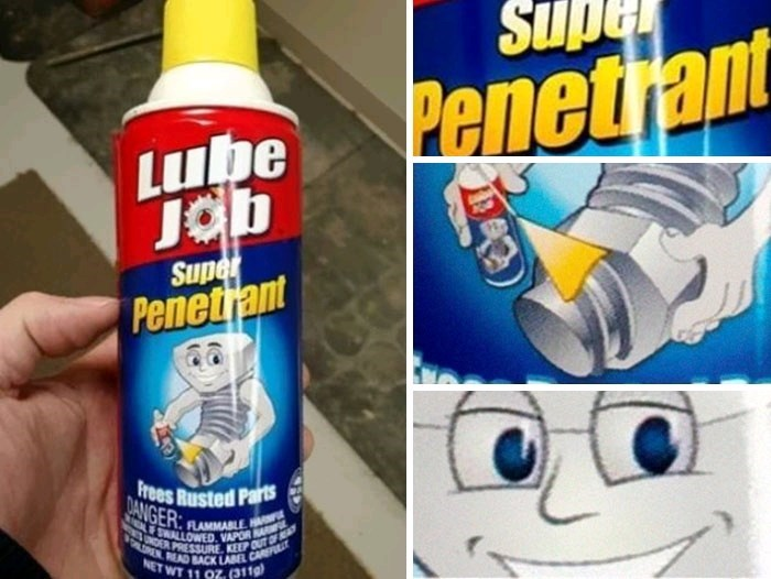 "lubricant described as ""super penetrant"" with picture of screw lubing its own end on the bottle"