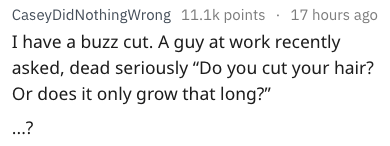 """dumb question - Text - CaseyDidNothingWrong 11.1k points 17 hours ago I have a buzz cut. A guy at work recently asked, dead seriously """"Do you cut your hair? Or does it only grow that long?"""" ...?"""
