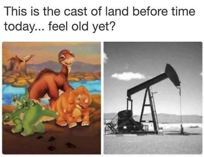 Animated cartoon - This is the cast of land before time today... feel old yet?