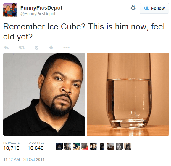 Face - FunnyPicsDepot Follow @FunnyPicsDepot Remember Ice Cube? This is him now, feel old yet? RETWEETS FAVORITES 10,716 10,640 11:42 AM -28 Oct 2014