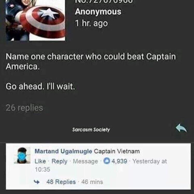 Funny meme about captain america, captain vietnam.