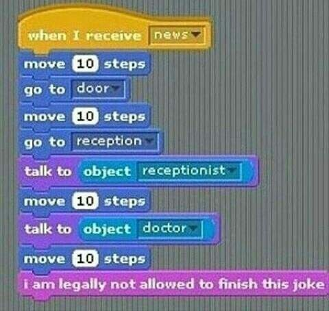 Text - when I receive newss move 10 steps go to door move 10 steps go to reception talk to object receptionist move 10 steps talk to object doctor move 10 steps i am legally not allowed to finish this joke