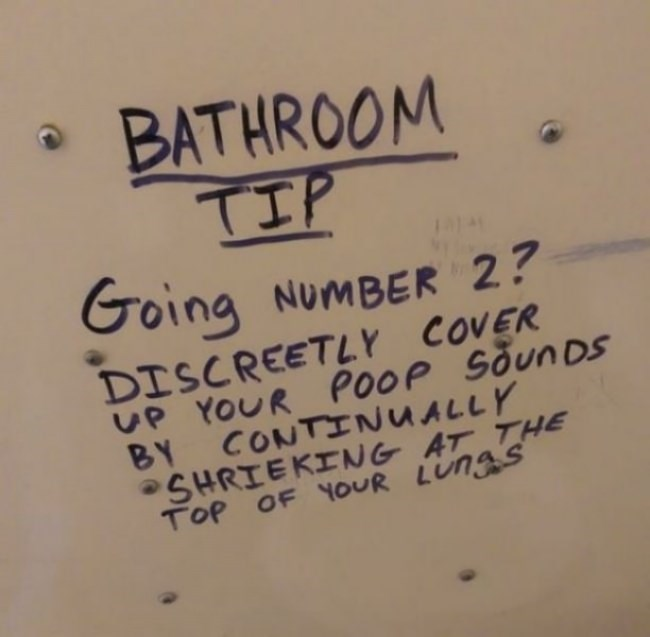Text - BATHROOM TIP Going NUMBER 2? DISCREETLY COVER UP YOUR PooP sounDs BY CONTINUALLY SHRIEKING AT THE TOP OF YOUR LUng S