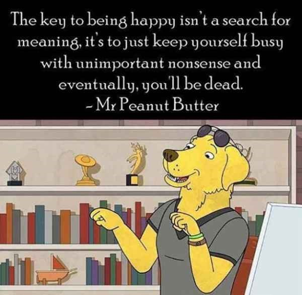 Cartoon - The key to being happy isn't a search for meaning, it s to just keep yourself busy with unimportant nonsense and eventually, you'll be dead. -Mr Peanut Butter