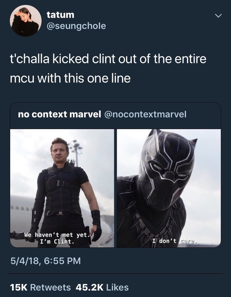 Marvel Meme of T'Challa not caring to meet Clint
