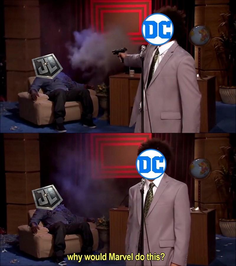 Marvel Meme of DC shooting Justice League