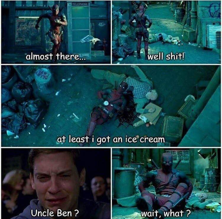 Marvel Meme of DeadPool and spider man thinking it's Uncle Ben