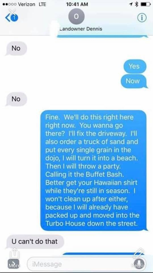 Landlord Meme telling his landlord he will turn it into a beach