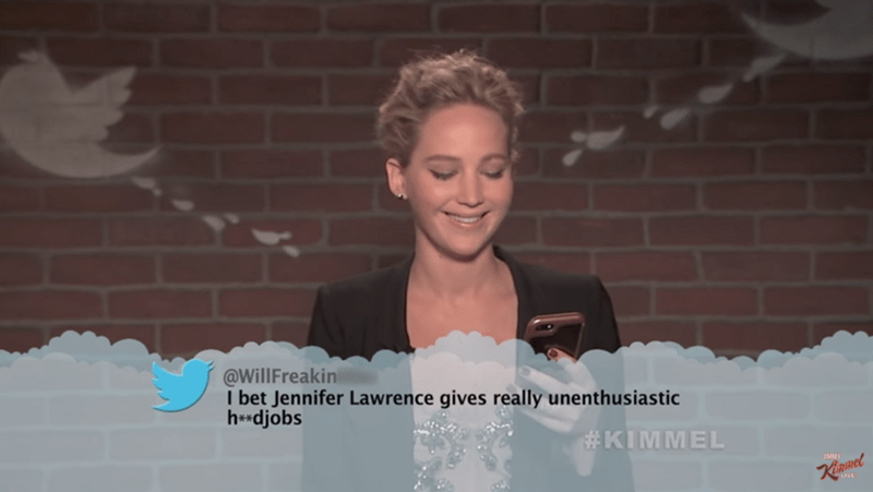 Snapshot - @WillFreakin I bet Jennifer Lawrence gives really unenthusiastic h*djobs #KIMMEL KiRINel