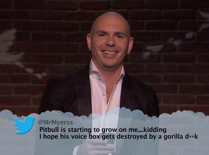 Photo caption - Dess @MrMyerss Pitbull is starting to grow on me....kidding I hope his voice box gets destroyed by a gorilla d**k