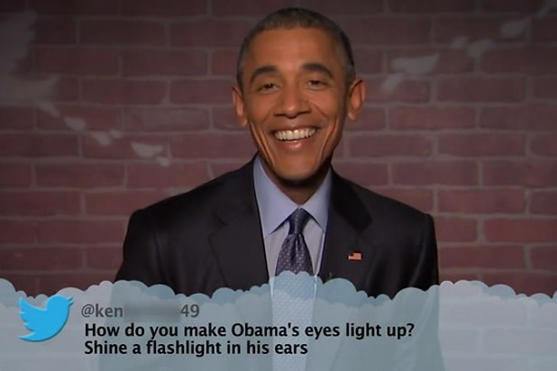Text - @ken How do you make Obama's eyes light up? Shine a flashlight in his ears 49