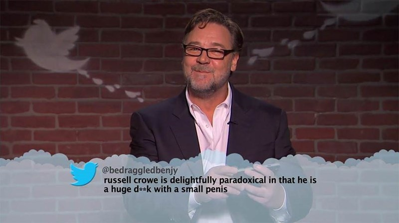 Photo caption - @bedraggledbenjy russell crowe is delightfully paradoxical in that he is a huge d**k with a small penis