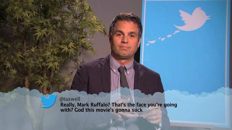Public speaking - @taswell Really, Mark Ruffalo? That's the face you're going with? God this movie's gonna suck