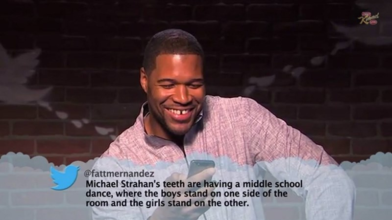 Facial expression - @fattmernandez Michael Strahan's teeth are having a middle school dance, where the boys stand on one side of the room and the girls stand on the other.