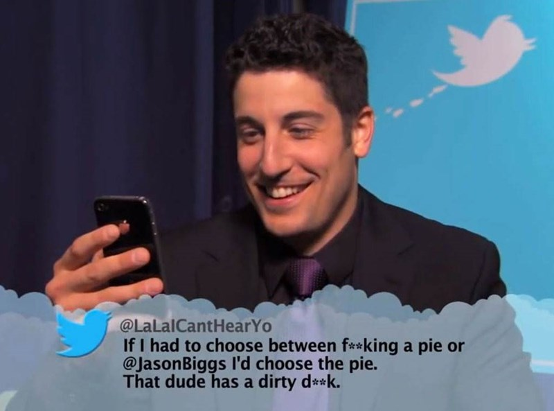 Selfie - @LaLalCantHearYo If I had to choose between f**king a pie or @JasonBiggs l'd choose the pie. That dude has a dirty d*k.