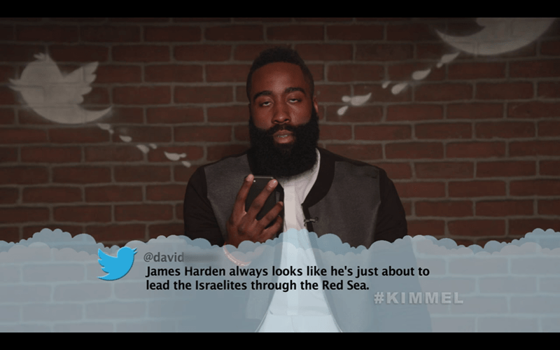 Photo caption - @david James Harden always looks like he's just about to lead the Israelites through the Red Sea. #KIMMEL (0