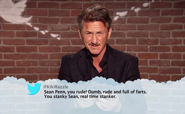 Facial expression - @KikiRazzle Sean Penn, you rude! Dumb, rude and full of farts. You stanky Sean, real time stanker.