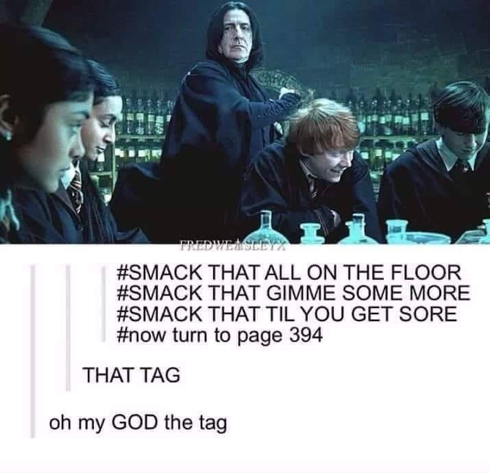 memes - Font - FREDWEASLEYS #SMACK THAT ALL ON THE FLOOR #SMACK THAT GIMME SOME MORE #SMACK THAT TIL YOU GET SORE #now turn to page 394 THAT TAG oh my GOD the tag