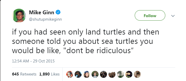 "Text - Mike Ginn Follow @shutupmikeginn if you had seen only land turtles and then someone told you about sea turtles you would be like, ""dont be ridiculous"" 12:54 AM - 29 Oct 2015 645 Retweets 1,890 Likes"