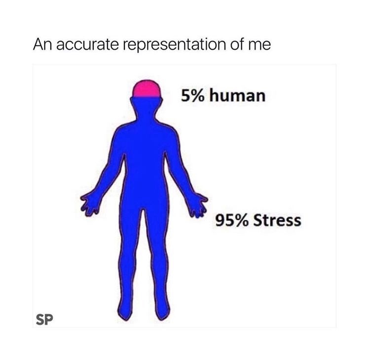Standing - An accurate representation of me 5% human 95% Stress SP