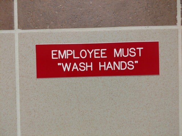 """Text - EMPLOYEE MUST """"WASH HANDS"""""""