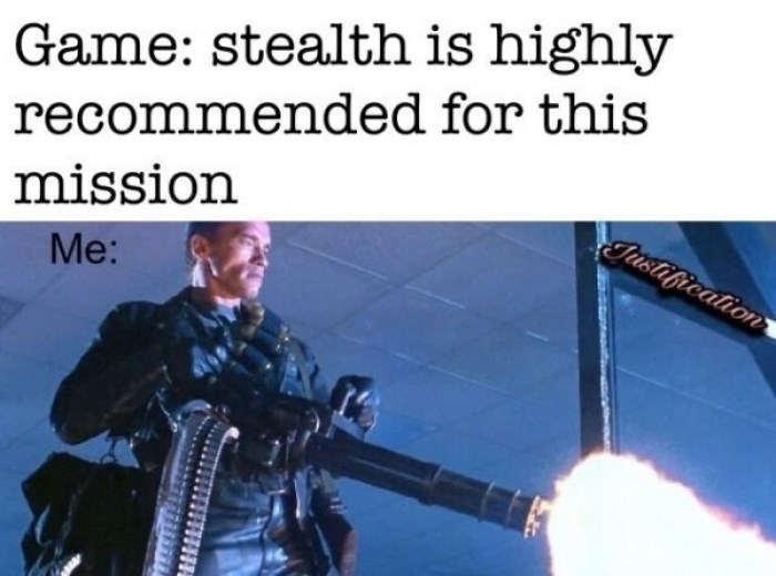 Adaptation - Game: stealth is highly recommended for this mission Tustigication Me: