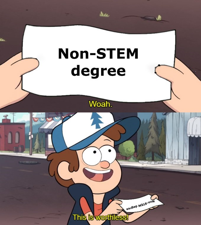 Dipper saying that a 'non-STEM degree' is worthless