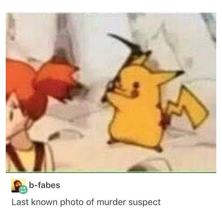"""Pic of Pikachu holding up a pick axe over Misty's head over the caption, """"Last known photo of murder suspect"""""""