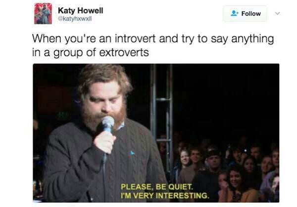 Text - Katy Howell katyhxwxll Follow When you're an introvert and try to say anything in a group of extroverts PLEASE, BE QUIET I'M VERY INTERESTING
